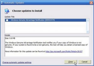 Do not download Windows Genuine Advantage Notification update